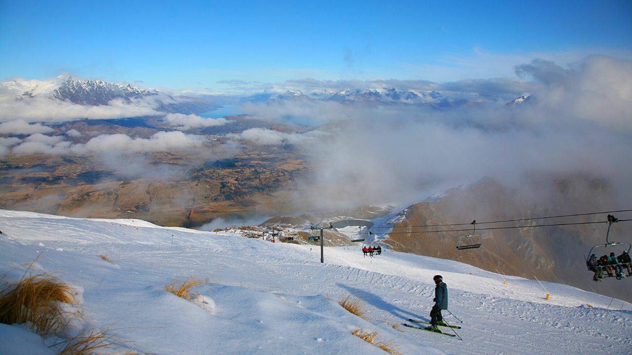 Coronet Peak Ski Resort above Otago, New Zealand