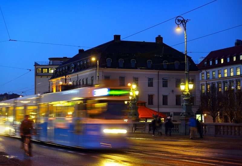 Gothenburg at night. trams and people in motion