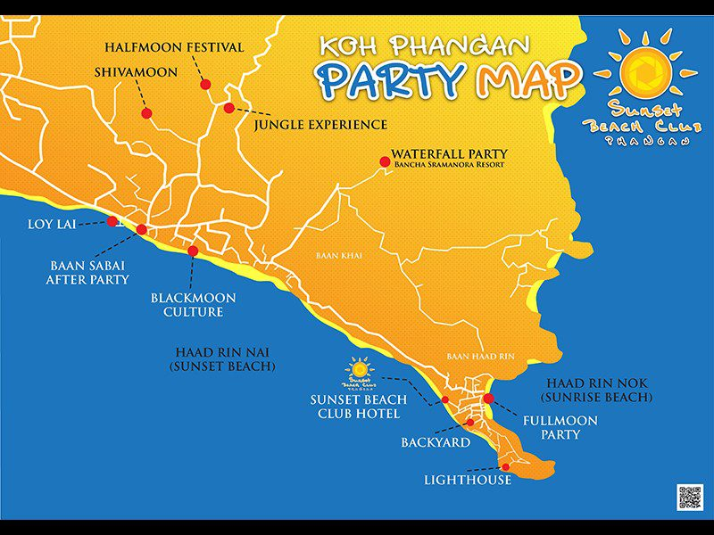 Full moon party, Loh Phangan Map