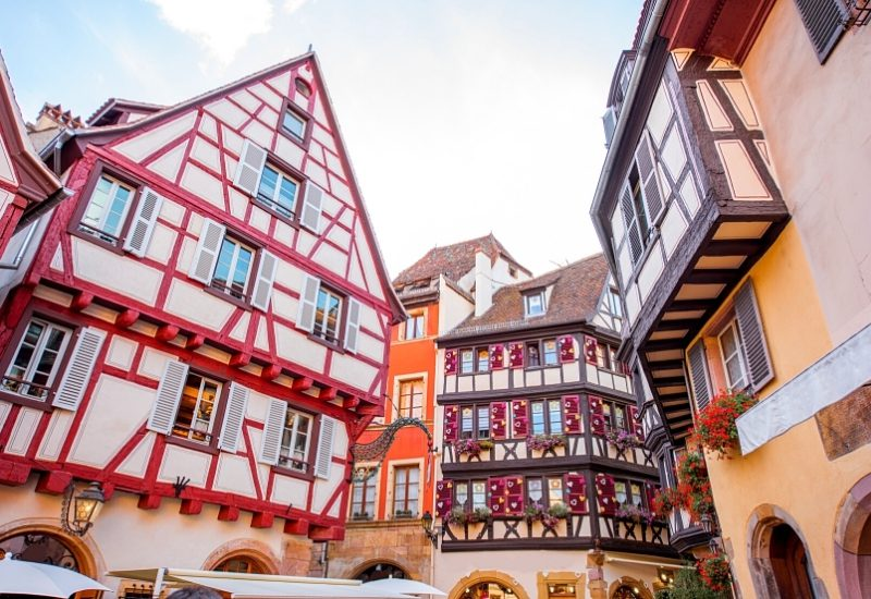 View on the beautiful old half-timbered houses