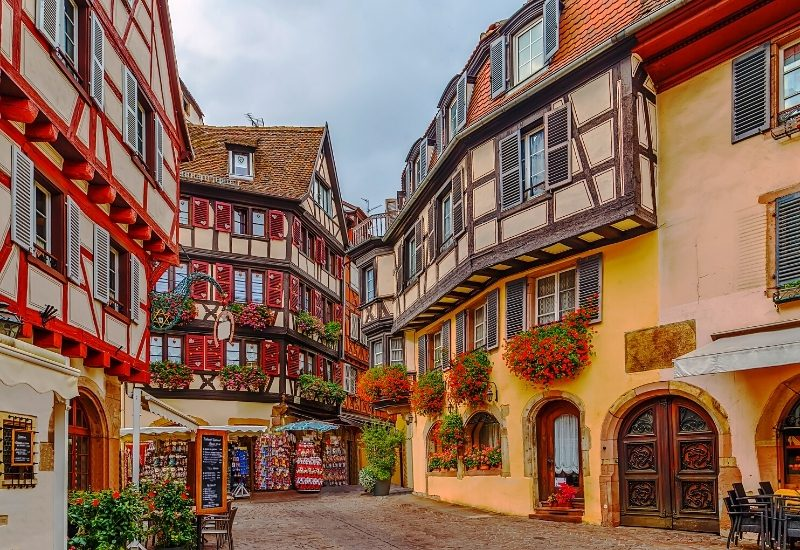 Historical street in Colmar city center