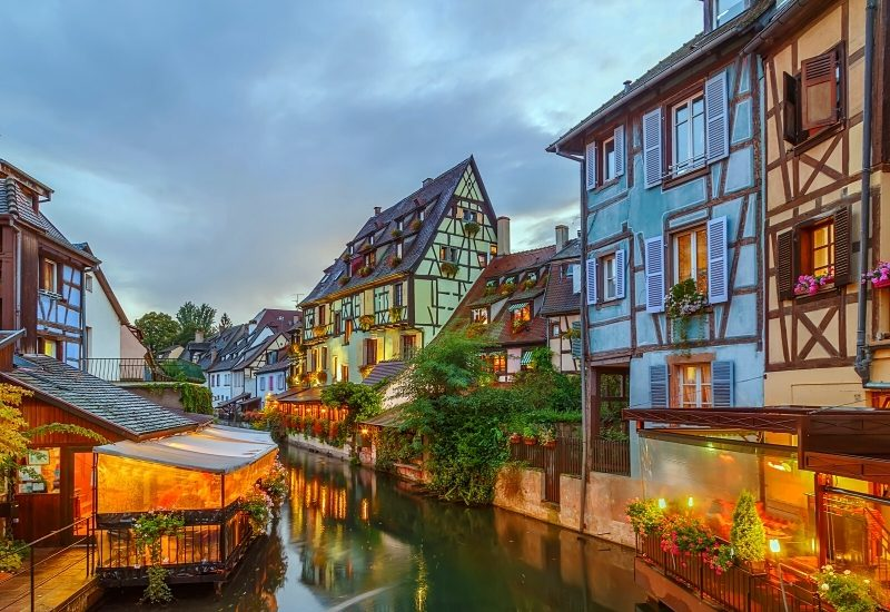 Area little Venice (la Petite Venise) in Colmar, Alsace, France. Evening