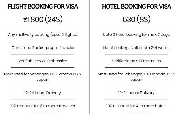 schengen visa temporary bookings