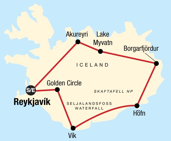 Best Of Iceland Tour map 2