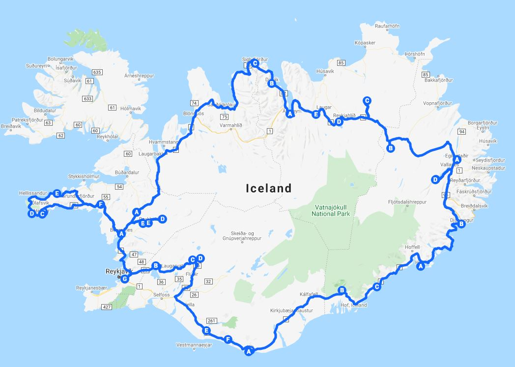 tour map complete Iceland