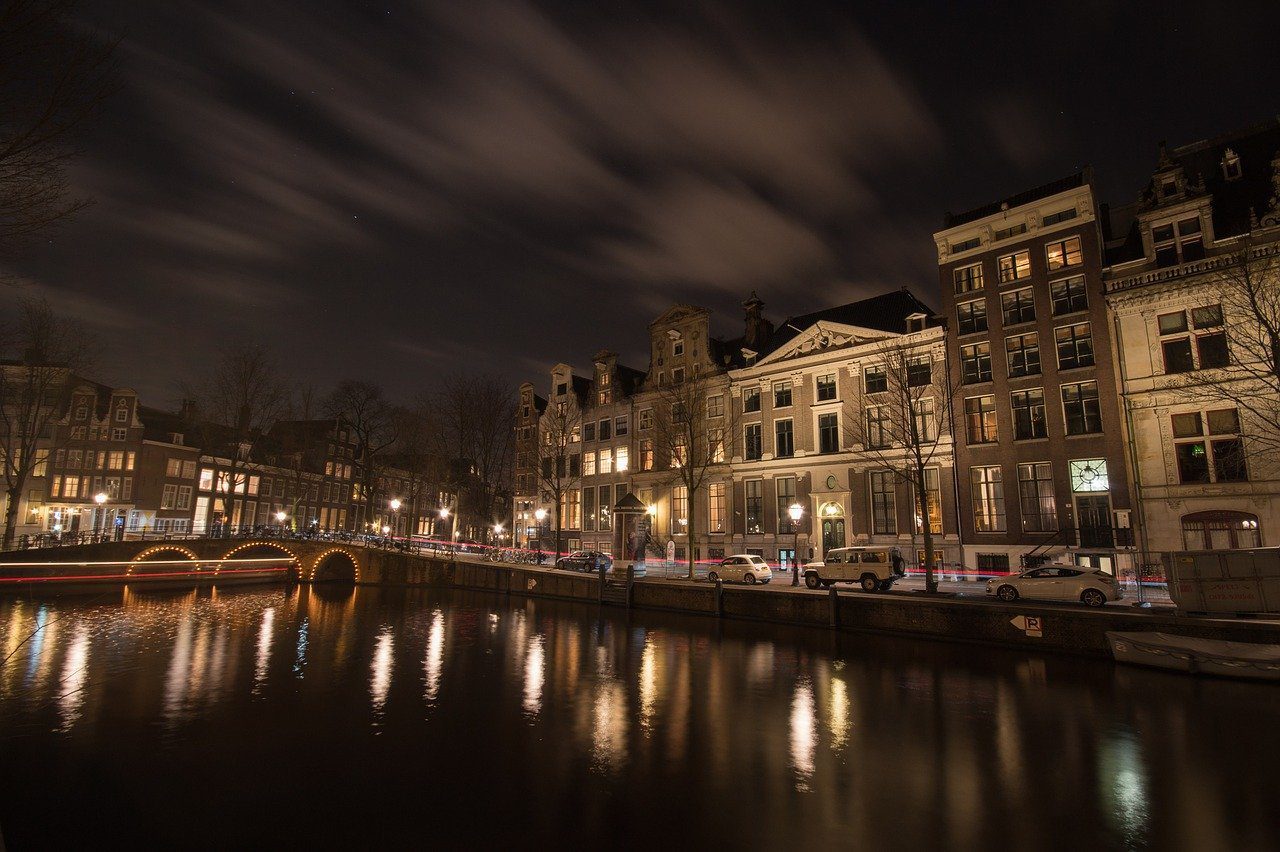 amsterdam, canal, night