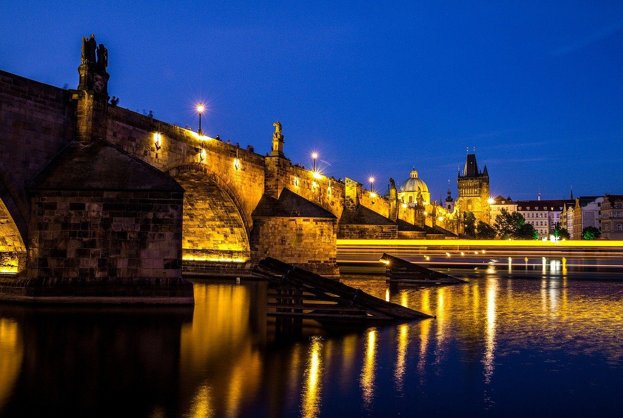 charles bridge, night, vltava river